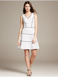 Tiered Ponte Fit-and-Flare Dress