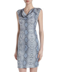 Marc New York by Andrew Marc Snake-Print Cap-Sleeve Dress