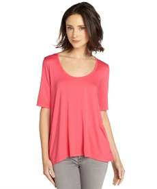 Three Dots pink jersey half-sleeve high-low tee