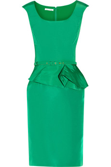Oscar de la Renta Silk-faille peplum dress