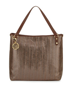 Moschino Borsa Metallic Woven PVC Tote Bag, Bronze/Brown
