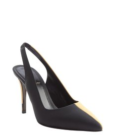 Fendi yellow and black leather colorblock singleback pumps