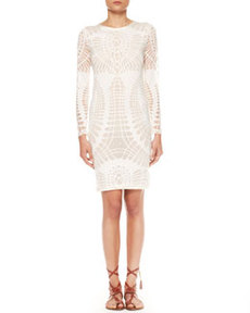 Long-Sleeve Cutout Sheath Dress, Off-White   Long-Sleeve Cutout Sheath Dress, Off-White