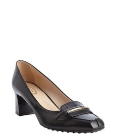 Tod's black leather buckle detail pumps