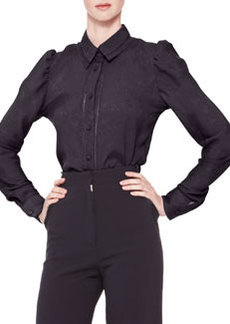 Zac Posen Long-Sleeve Collared Button-Up Blouse