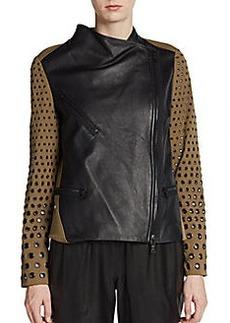 Robert Rodriguez Mixed-Media Eyelet Sleeve Jacket