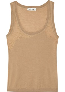 Valentino Lace-trimmed wool-blend tank