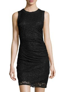 Laundry by Shelli Segal Ruched Lace Sheath Dress, Black