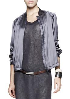Brunello Cucinelli Satin Quilt-Shoulder Jacket