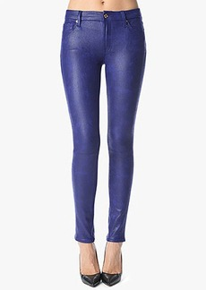 The Seamed Skinny in Crackled Leather-Like Capri Blue