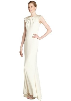 Badgley Mischka ivory jersey art deco beaded cap sleeve gown