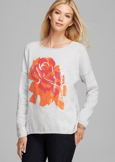 Joan Vass Sequined Rose Sweater