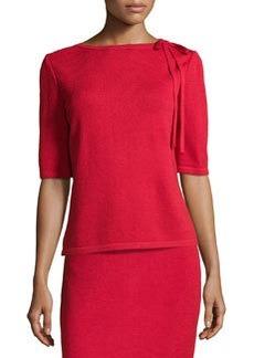 St. John Tie-Neck Knit Sweater, Ruby