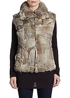 Saks Fifth Avenue GRAY Rabbit Fur Vest
