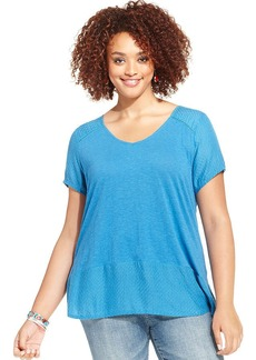 Lucky Brand Plus Size Short-Sleeve Lace-Back Top
