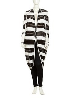 L.A.M.B. Striped Pointelle Cocoon Cardigan, Black/White