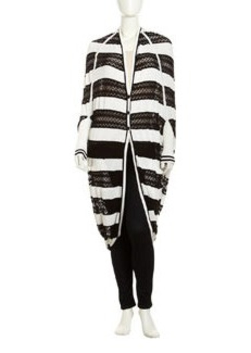 L.A.M.B. Striped Pointelle Cocoon Cardigan, Black/White