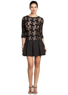 A.B.S. by Allen Schwartz black three quarter sleeve pleated skirt dress