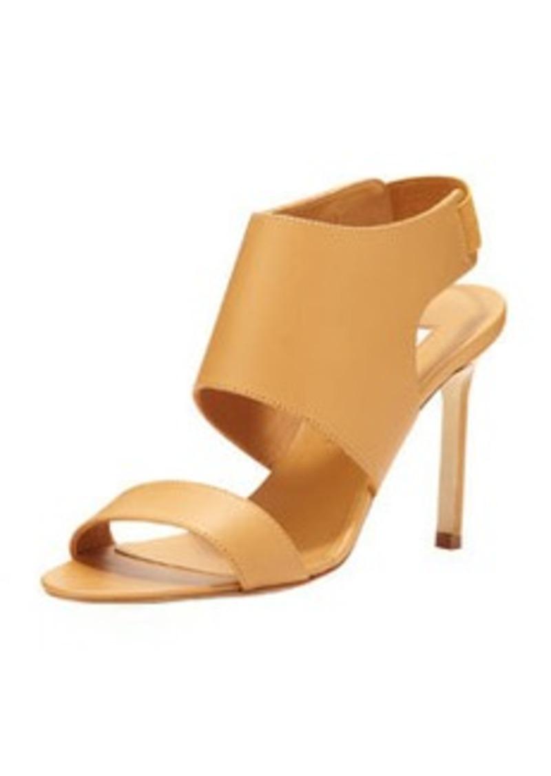 Open-Toe Elastic Slingback Sandal, Beige   Open-Toe Elastic Slingback Sandal, Beige