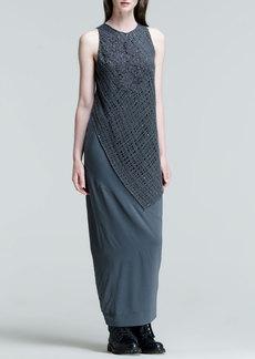 Brunello Cucinelli Sleeveless Lace-Overlay Silk Gown