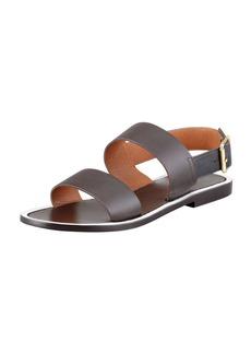 Marni Double Strap Leather Sandal, Ebony