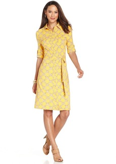 Charter Club Petite Bamboo-Print Button-Front Dress