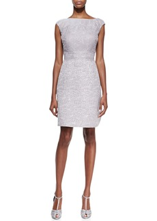 Kay Unger New York Cap-Sleeve Lace-Bodice Cocktail Dress, Silver