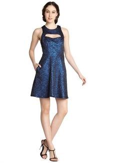 A.B.S. by Allen Schwartz cobalt stretch cotton brocade peek a boo sleeveless dress