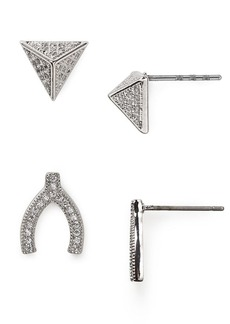 ABS by Allen Schwartz Modern Pave Wishbone Stud Earrings Duo