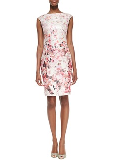 Kay Unger New York Floral Printed Metallic Sheath Dress