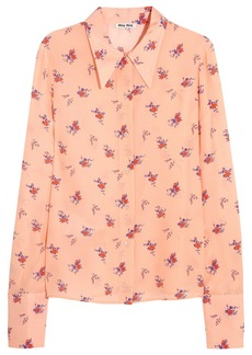 Miu Miu Printed silk crepe de chine shirt