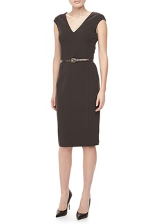 Michael Kors Crepe V-Neck Sheath Dress