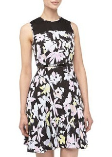 Marc New York by Andrew Marc Floral Print Fit-And-Flare Combo Dress