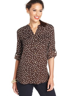 Charter Club Long-Sleeve Dot-Print Blouse