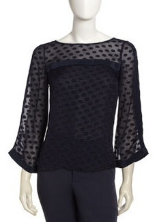Nanette Lepore Sheer Yoke Dot & Ribbon Detail Top, Navy