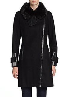 Via Spiga Faux-Fur Collar Zip Coat
