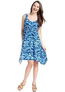 Style&co. Petite Printed Handkerchief-Hem Dress