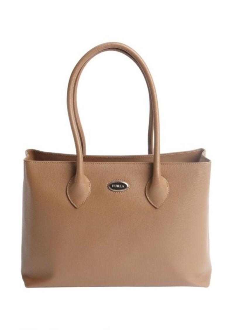 furla furla taupe leather 39 martha 39 medium shopper tote handbags shop it to me. Black Bedroom Furniture Sets. Home Design Ideas