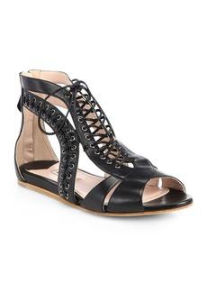 Miu Miu Lace-Up Nappa Leather Gladiator Sandals