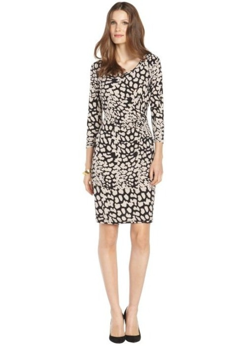 Calvin Klein black and khaki animal print stretch jersey long sleeve dress