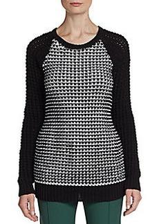 Jason Wu Chunky-Knit Check Sweater