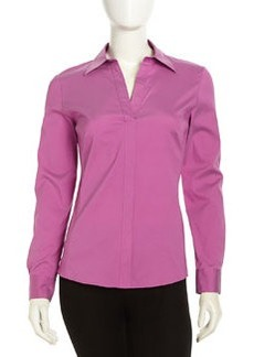 Lafayette 148 New York Katie Stretch-Poplin Blouse, Blossom