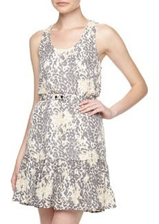 Joie Ori D Leopard-Print Flounce Dress, Steel