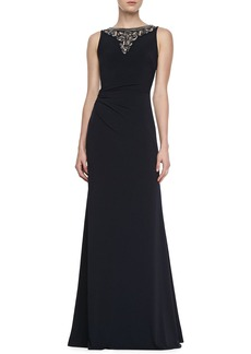 David Meister Sleeveless Jewelry Neck Gown, Navy