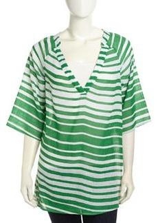 Ella Moss Half-Sleeve Striped Voile Tunic, Palm