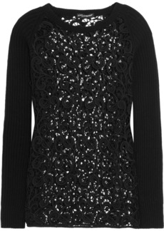 Dolce & Gabbana Lace and cashmere-blend top