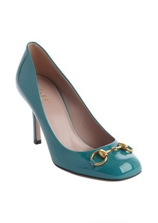 Gucci green patent leather squared toe 'Vernice' pumps