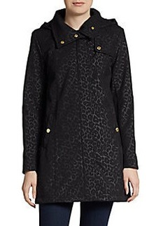 Ellen Tracy Leopard-Print Hooded A-Line Jacket
