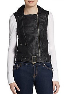 French Connection Thea Belted Faux Leather Vest