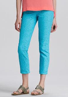 Nanette Lepore Strolling Lace-Texture Slim Pants, Pond